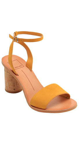 dolce vita Jali honey nubuck heel sandals open toe shoes yellow leather ankle straps shopaa.com