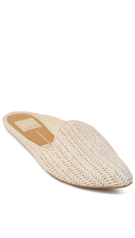 Dolce Vita Grant Slides Ivory Raffia Backless Woven Slip-On Flats ShopAA