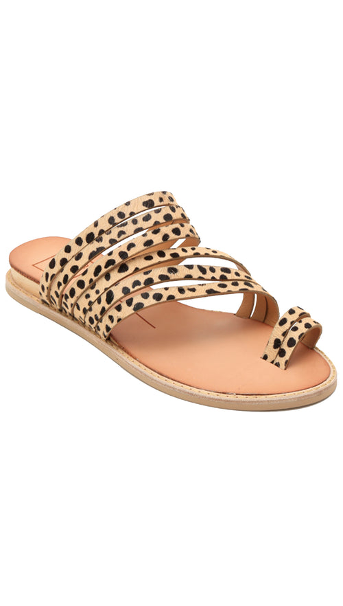 dolce vita nelly leopard strappy detail sandals flats slip on shoes toe strap calf hair ShopAA