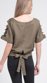 JOA Cut Out Sleeve Blouse Bow Boxy Top Olive Green J.O.A. SHOPAA