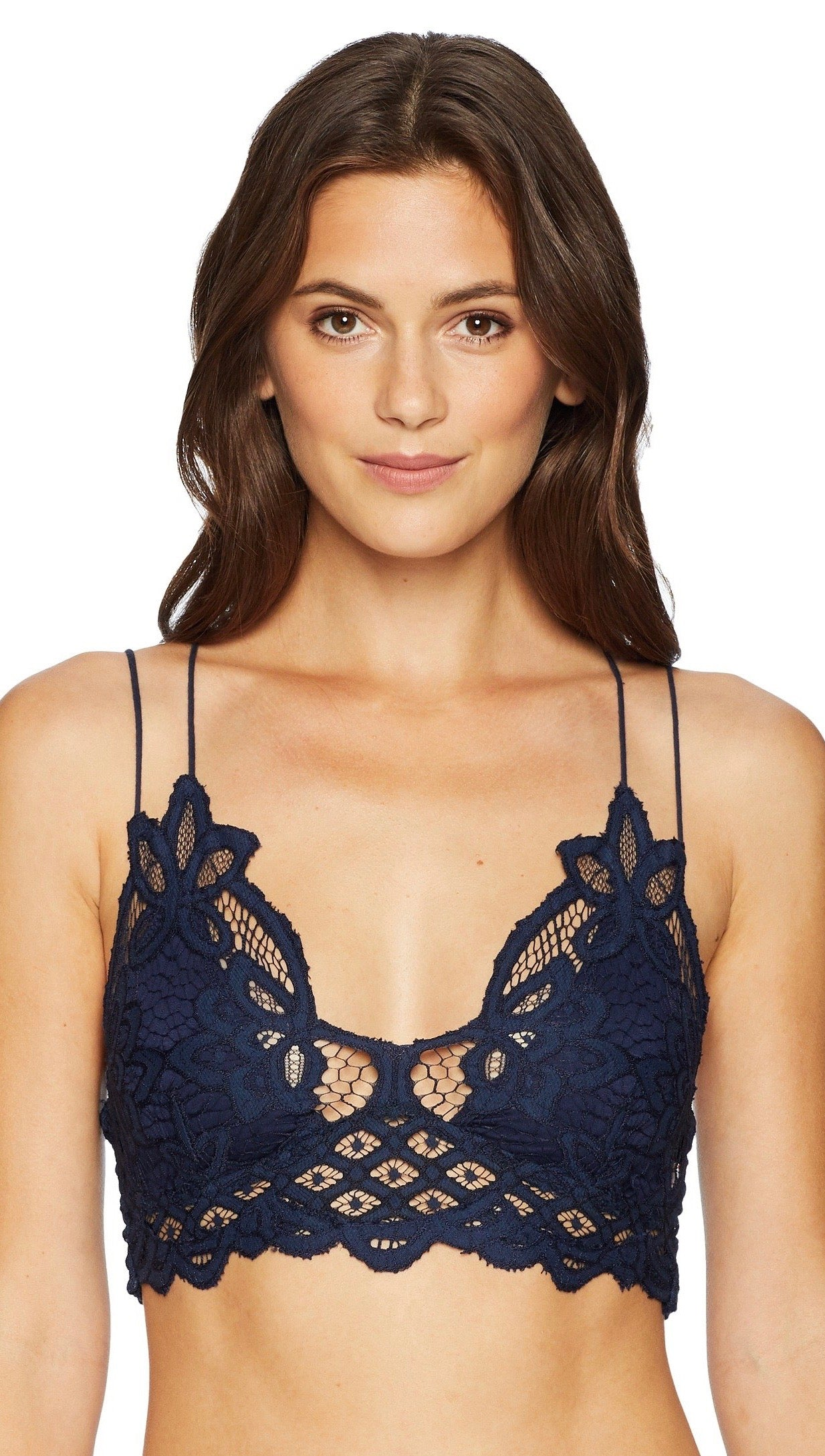61fbf4b136ae9 Free People Adella Bralette Navy Blue Lace Bra Top Intimates