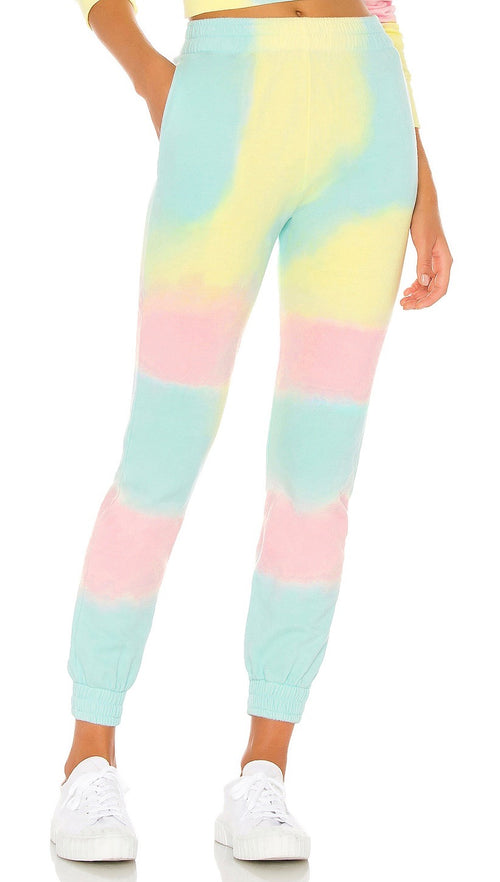 Frankies Bikinis Aiden Rainbow Tie Dye Slim Fit Sweatpants Active Pants I ShopAA