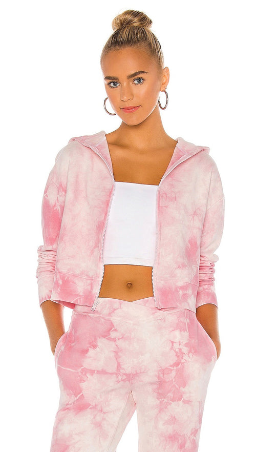 Frankies Bikinis Ranger Heavenly Pink Tie Dye Sweatshirt Zip-up Hoody I ShopAA