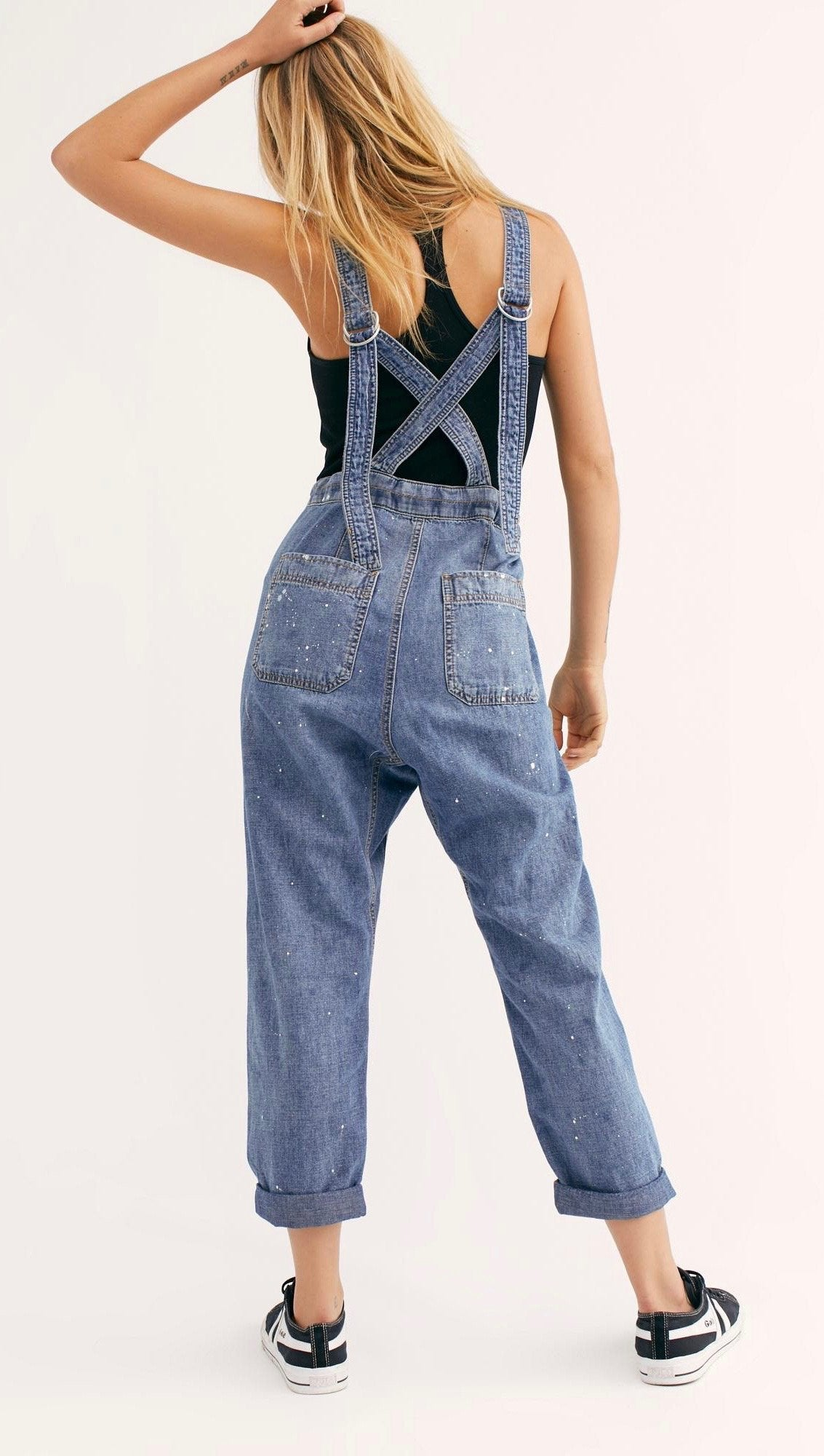 Free People Jackie Paint Splatter Denim Overall Tululah Blue | ShopAA