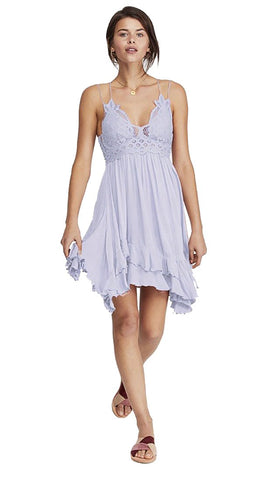 Free People Adella Slip Dress Cloudy Lavender Lilac Lace Crochet | ShopAA