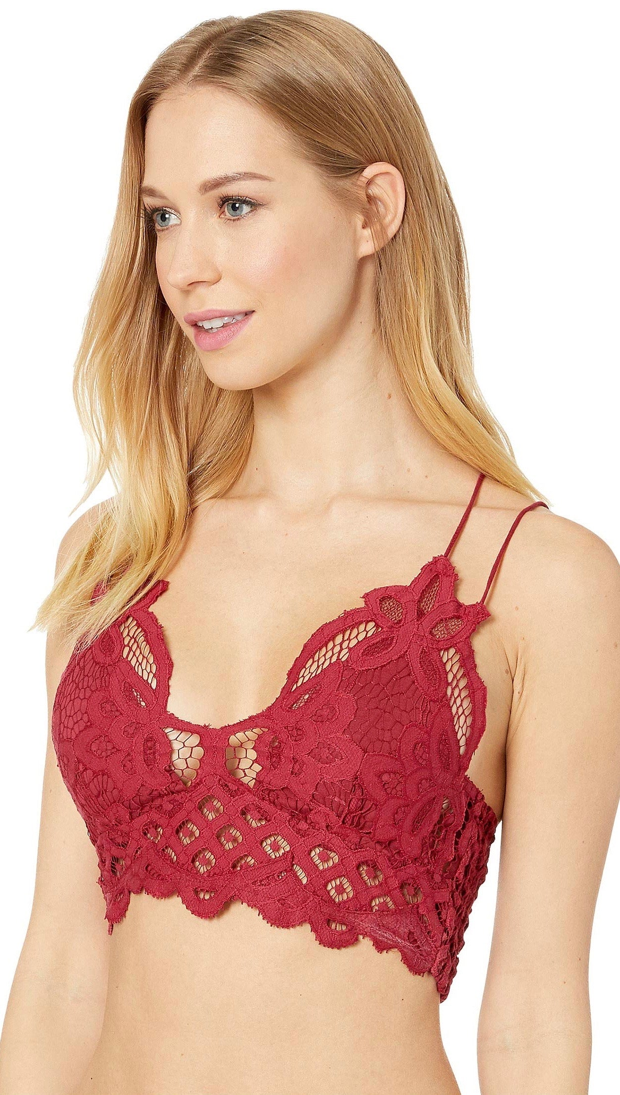 5507bf8b73 Free People Adella Bralette Garnet Red Intimates Floral Lace
