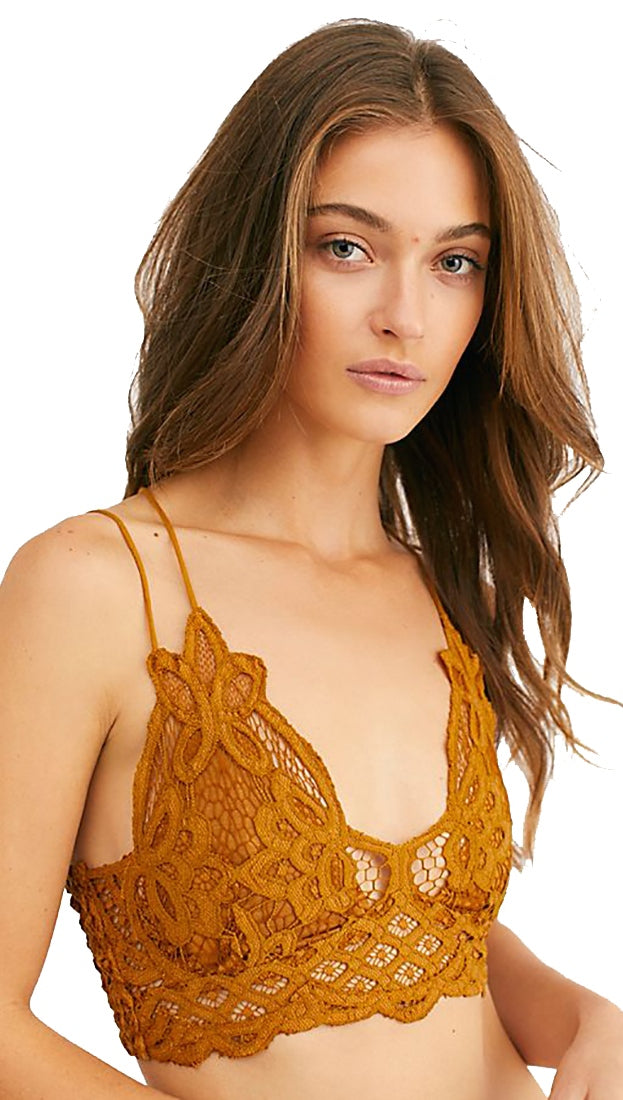 fc132cf506022 Free People Adella Bralette Gold Rust Intimates Floral Lace