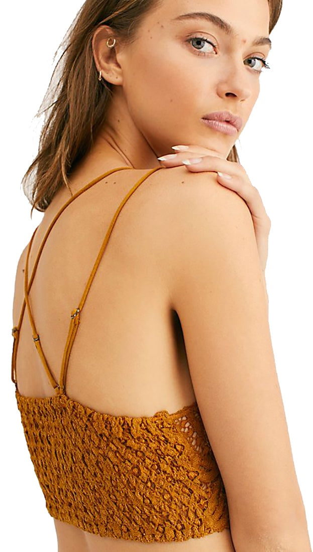 74f75a2f39b87 Free People Adella Bralette Gold Rust Intimates Floral Lace