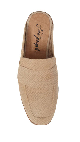 Free People Textile At Ease Loafer Beige Snake Mule Backless | ShopAA