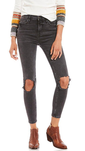Free People High Rise Busted Knee Skinny Denim Jeans Charcoal Black ShopAA