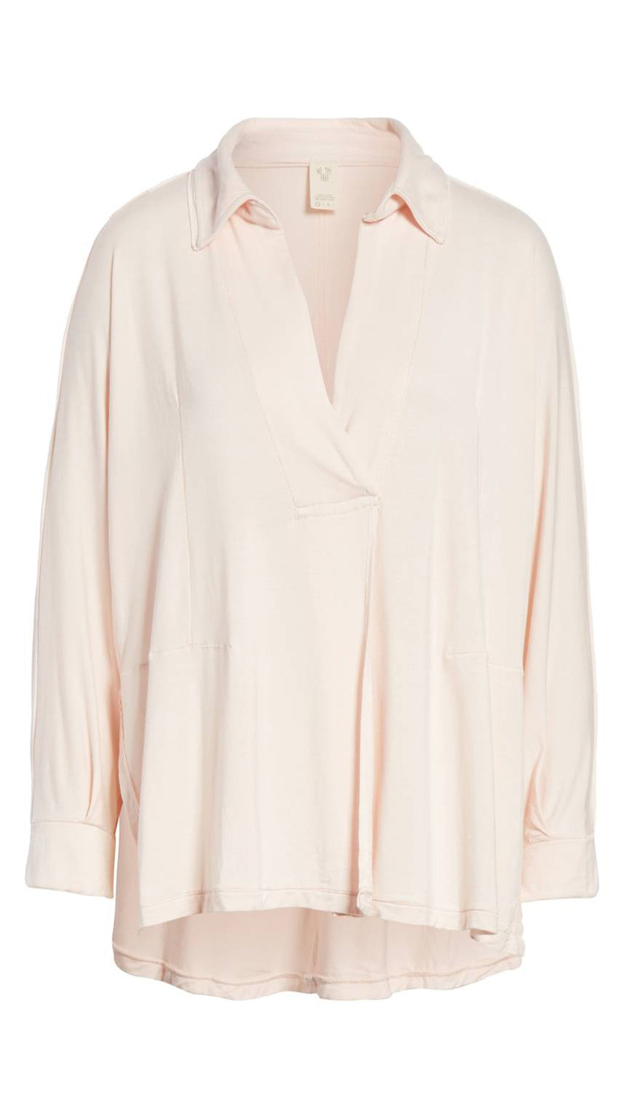 Free People Can't Fool Me Collar V Neck Tee Blouse Soft Peach Pink