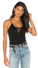 Free People Come Around Mesh Insert Cami Tank Top Black l ShopAA