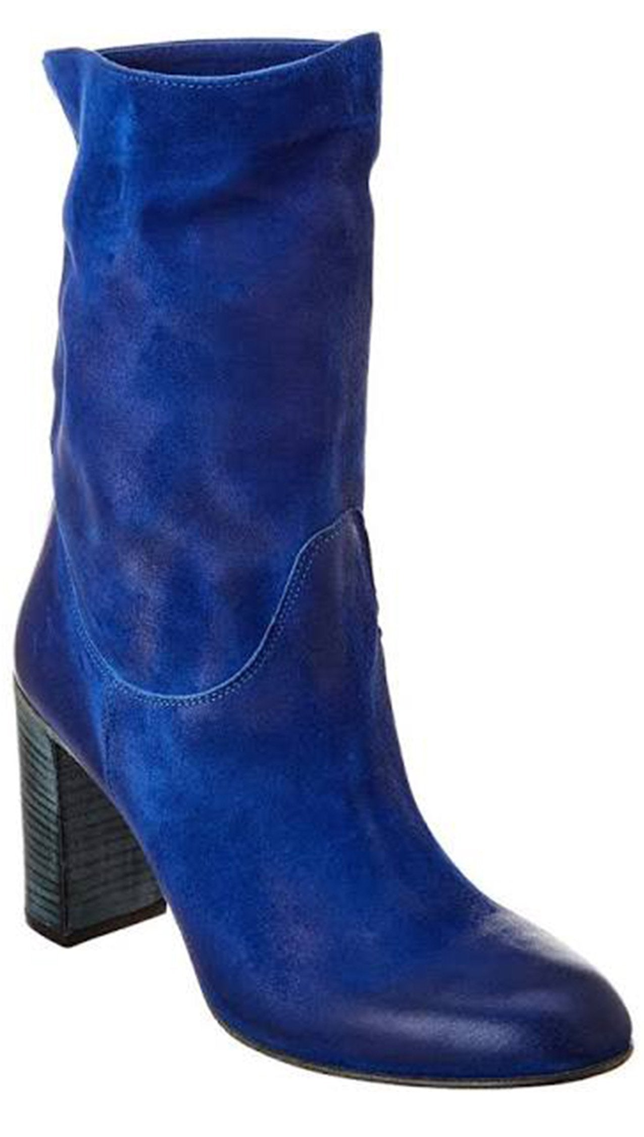Free People Dakota Heel Boot Cobalt Blue Suede Leather Slouchy Ankle Boots