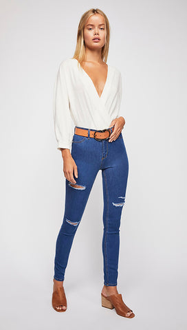 Free People High Rise Destroyed Long And Lean 70s Blue Jegging l ShopAA