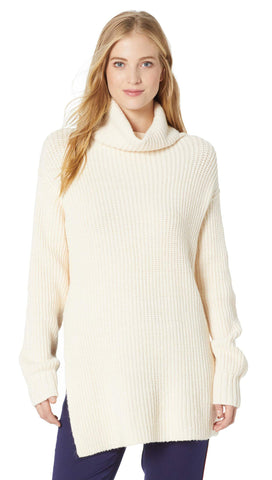 Free People Eleven Sweater Cream Oversized Turtleneck Rib Knit | ShopAA