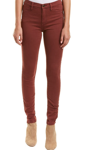 Free People High Rise Red Mocha Long And Lean Skinny Leg Denim Jegging
