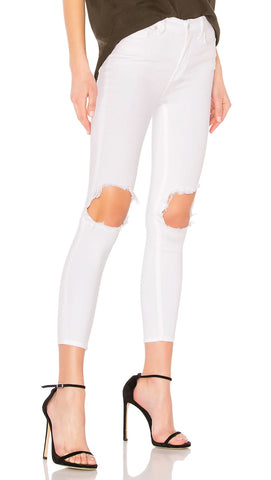 free people high waist busted knee jeans white