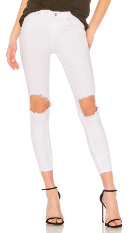 free people high waist busted knee denim white