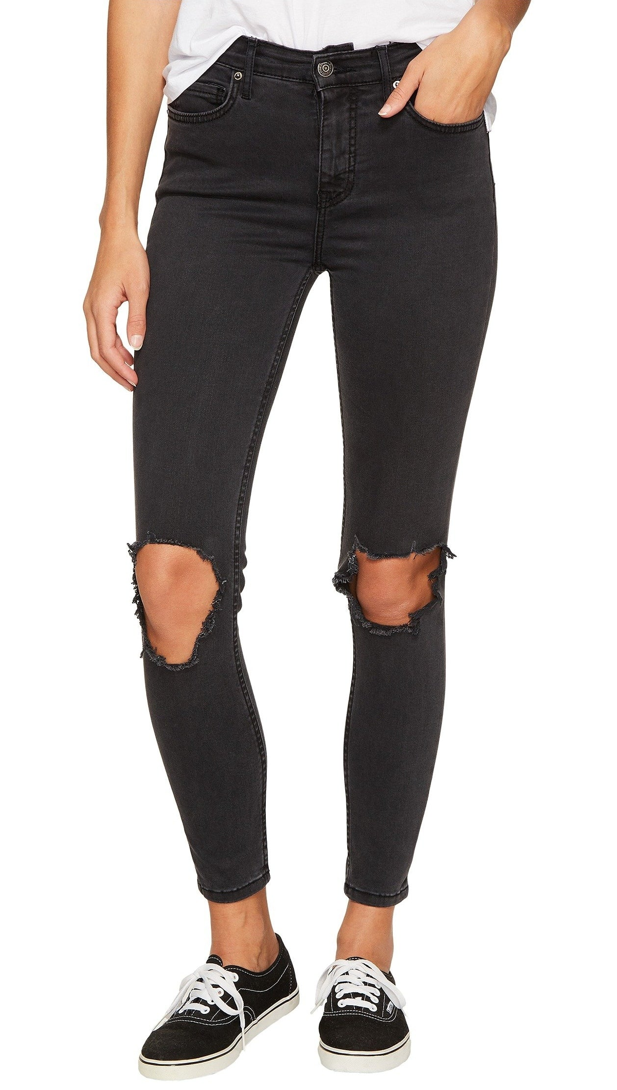 Free People High Rise Busted Skinny Knee Denim Jean Carbon Black ShopAA