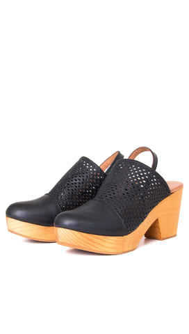 Free People Logan Black Leather Clogs Wood Heel Platform Shoes I ShopAA