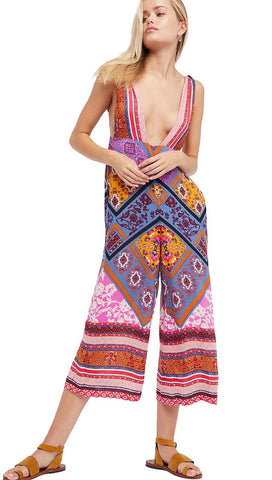 Free People Maritzah One Piece Print Jumper Festival Bohemian Crop Wide Leg Pants