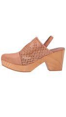 Free People Logan Natural Brown Leather Preforated Sling Back Clogs I ShopAA
