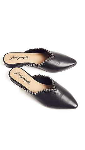 Free People Studded Newport Flats Slip On Leather Slides Black
