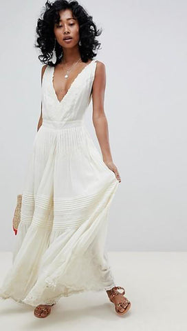 Free People Paloma Romper Jumpsuit Ivory White Crochet Lace Embroidered Wide Leg V Neck Scallop Edge