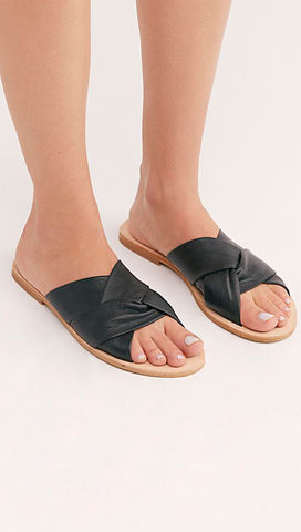 Free People Rio Vista Slide Sandals Flats Black Leather Backless ShopAA
