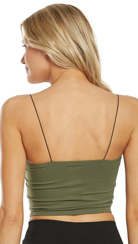 Free People Olive Green Skinny Strap Seamless Brami Tank Top I ShopAA