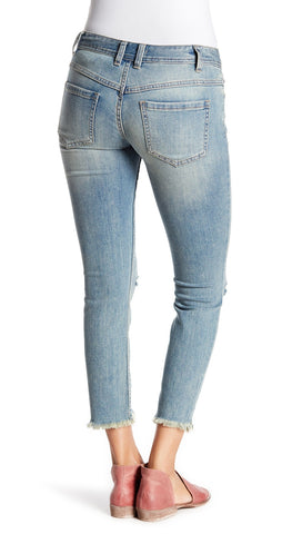 Free People Destroyed Skinny Jean Sitka Frayed Denim Pants l ShopAA
