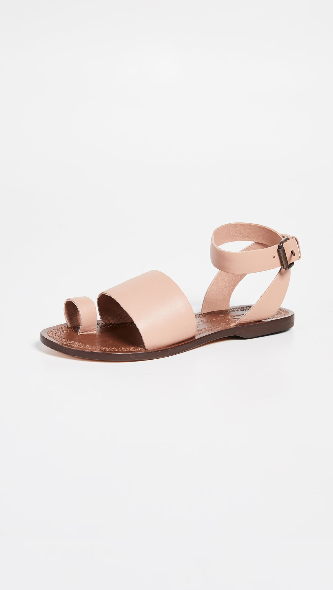 Free People Torrence Sandal Rose Shoes Pink Leather Strap Toe Ring