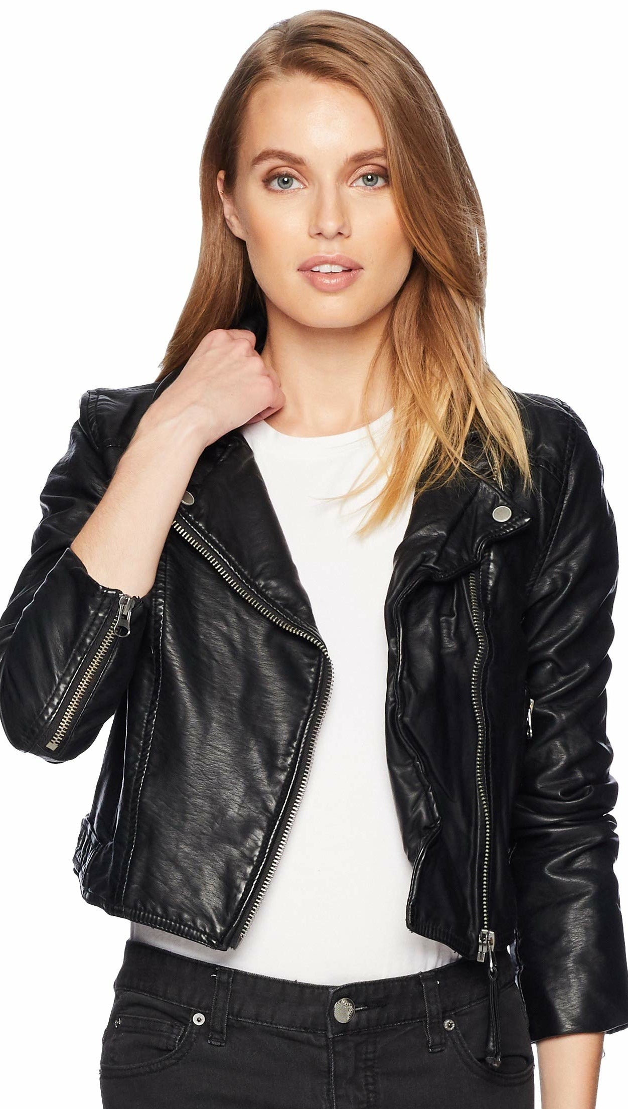 Free People Heartache Moto Jacket Black Vegan Leather Crop Biker