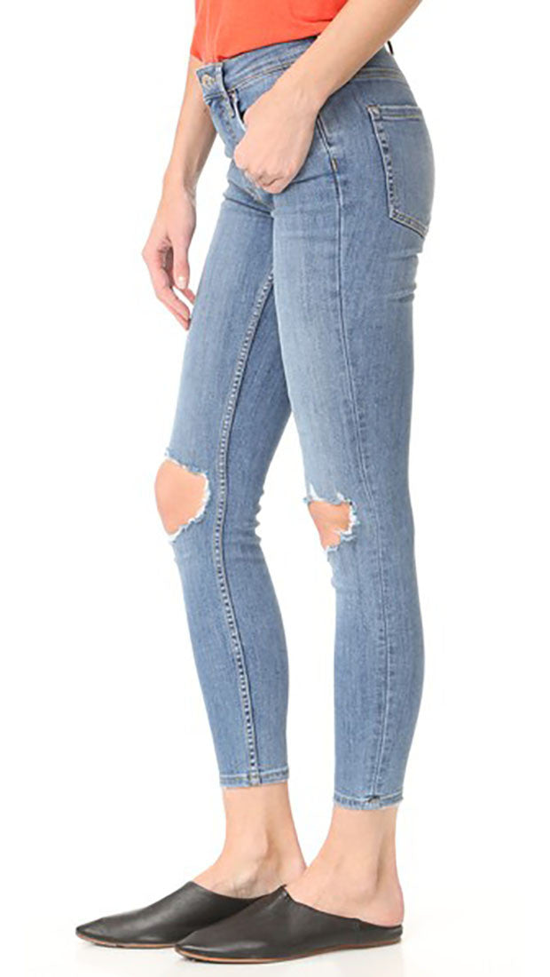 Free People High Rise Busted Knee Skinny Jeans Light Blue Wash