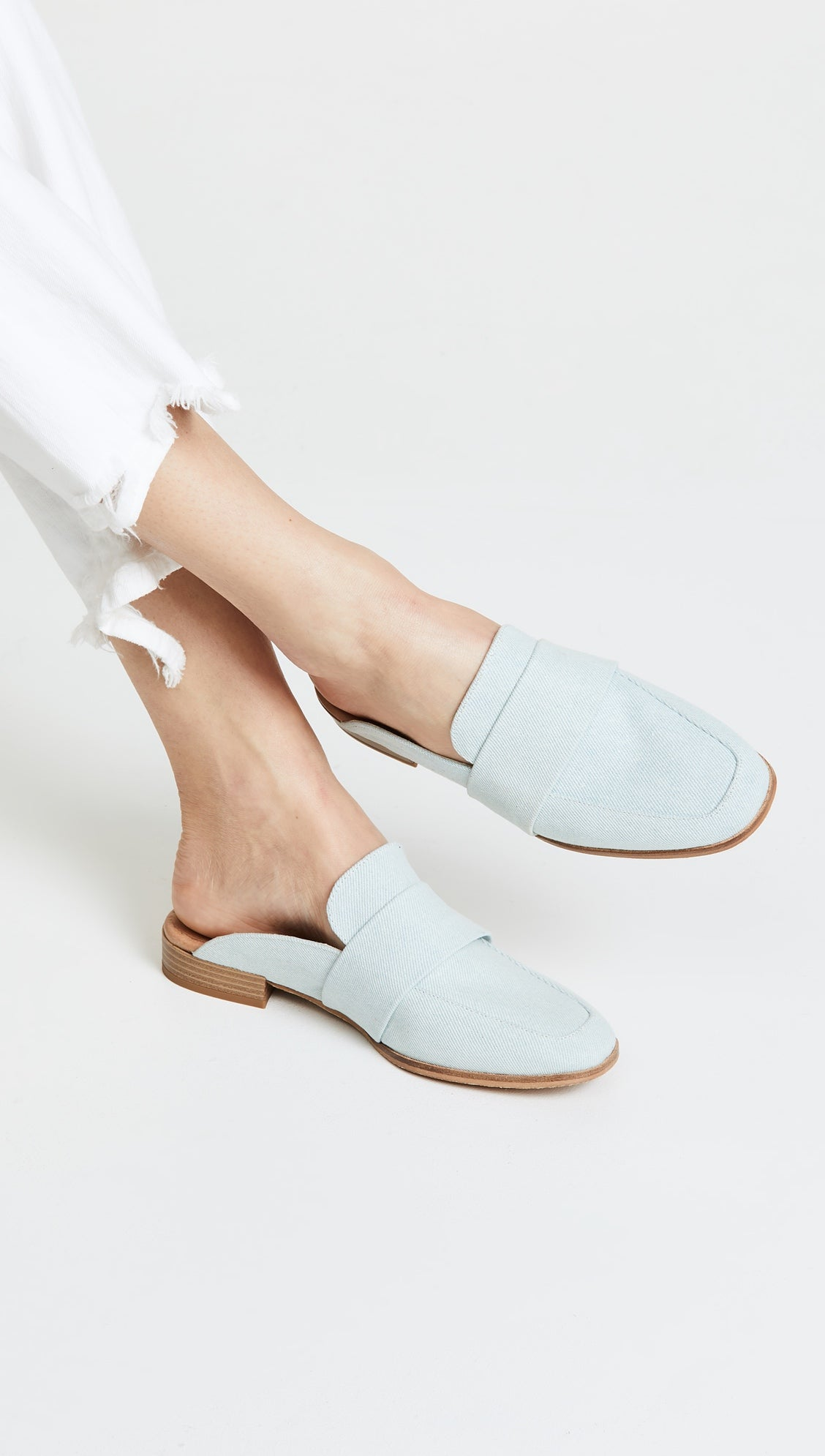 fa291fa2855 Free People Textile At Ease Loafer Washed Denim Mule Slides