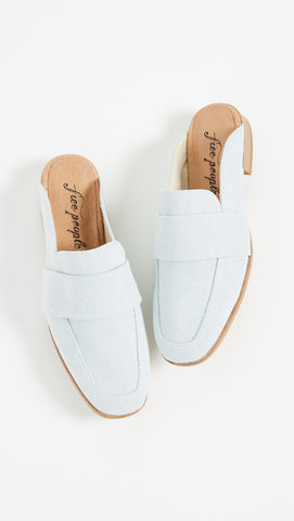 Free People Textile At Ease Loafer Washed Denim Mule Slides | ShopAA