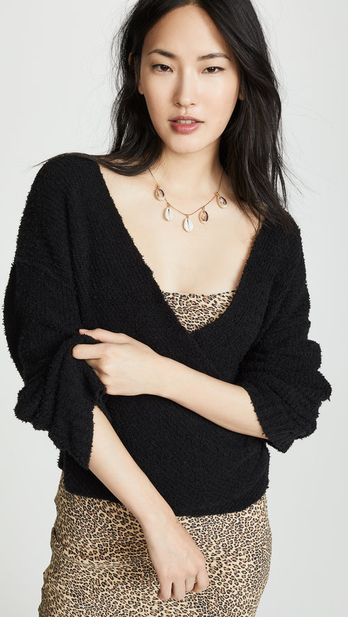 Free People Sensual Wrap Sweater Black V Neck Wrap Knit I ShopAA