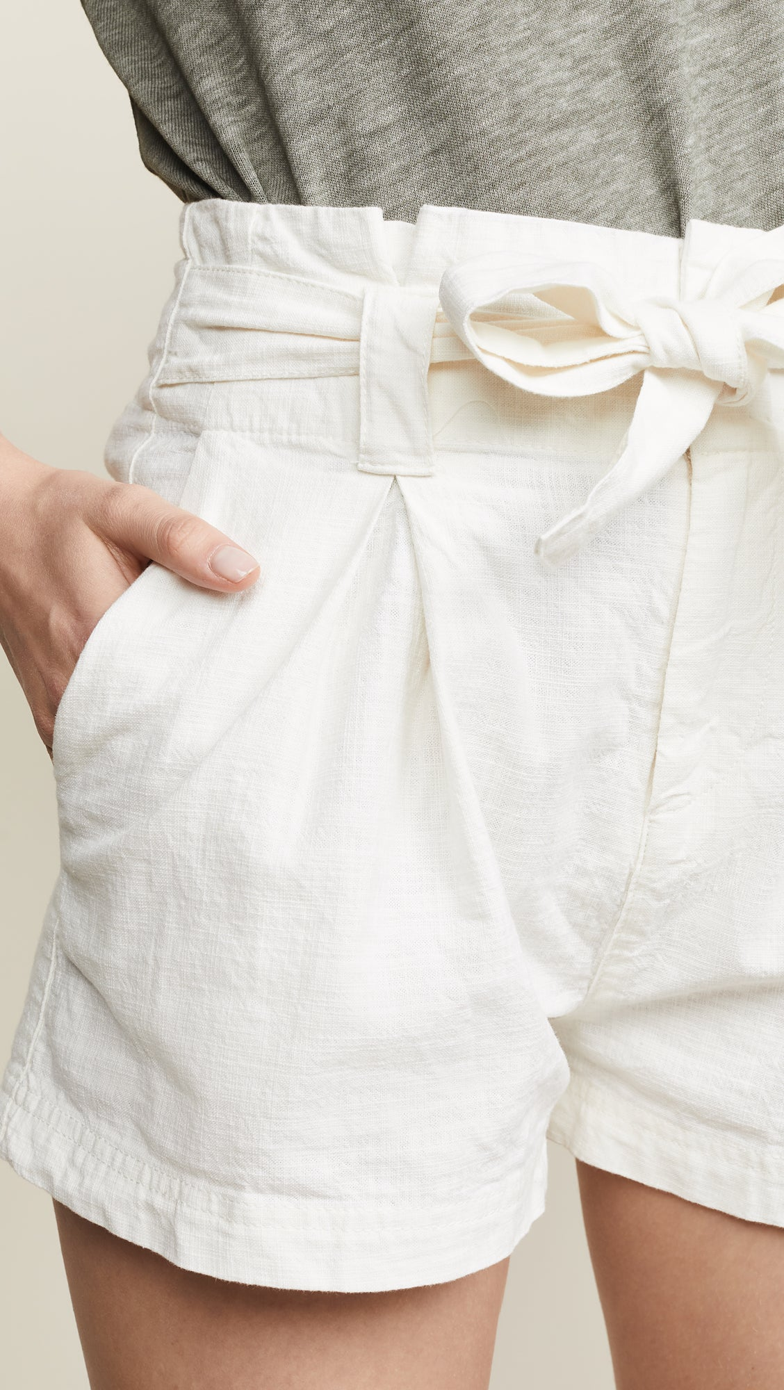 Free People Everywhere You Go Cargo Paperbag Shorts Cream White I ShopAA
