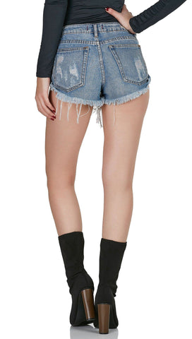 Bonitas Button Up Distressed Denim Rolled Cut Off Jean Shorts ShopAA