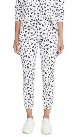 MONROW Heart Leopard Print Elastic Waist Sweats Natural Pants White ShopAA