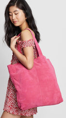 One Teaspoon Harlowe Large Oversized Suede Tote Bag Hot Pink | ShopAA