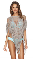 Army Beach Bunny Swimwear Indian Summer Poncho in Fringe