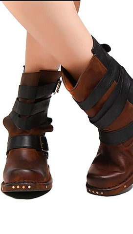Jeffrey Campbell Rougues Short Buckle Boot Brown Black Leather