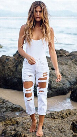 Destroyed Boyfriend Jeans White Ripped Distressed Denim by JessykaRobyn