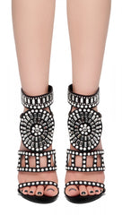 Royal Embellished Jewel Stiletto Open Toe Heel Shoes Black I ShopAA