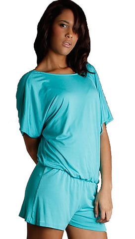 Josh Brody Deep V Active Romper One Piece Jumper in Aqua