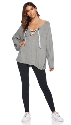 Beach Bunny Swimwear Josie Sweatshirt Grey Lounge Lace Up | ShopAA