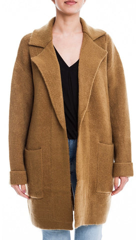 Lush Invested Blazer Cardigan Jacket Camel Sweater Wool Open