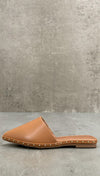 Watts Camel Studded Loafer Pointy Toe Flat Slides Vegan Leather ShopAA