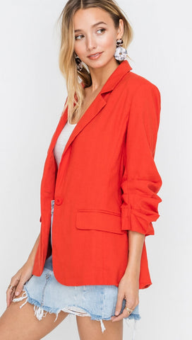 Resort Boss Ruched Sleeve Linen Blazer Red I ShopAA